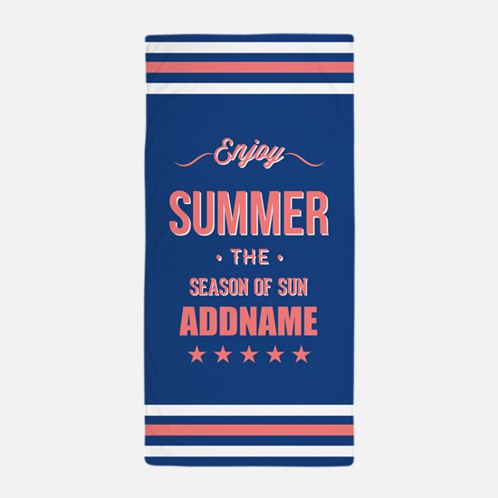 Blue Coral Enjoy Summer Personalized Beach Towel