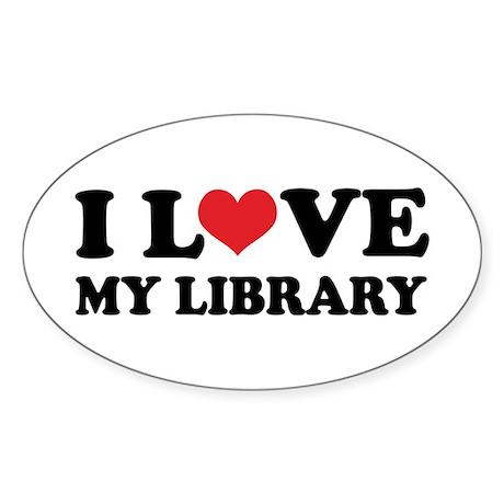 I Love My Library Oval Sticker