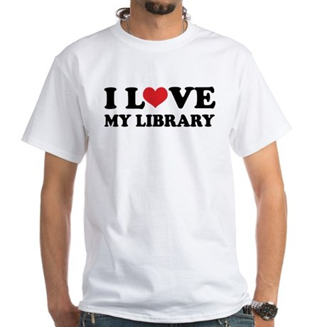 I Love My Library White T-Shirt