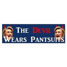 The Devil Wears Pantsuits Bumper Car Sticker