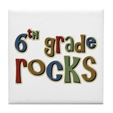 6th Grade Rocks Sixth School Tile Coaster