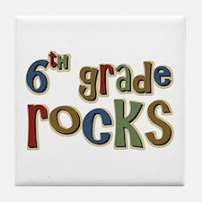 6th Grade Rocks Sixth School Tile Coaster