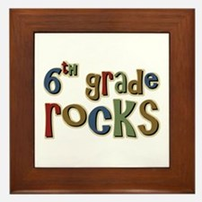 6th Grade Rocks Sixth School Framed Tile