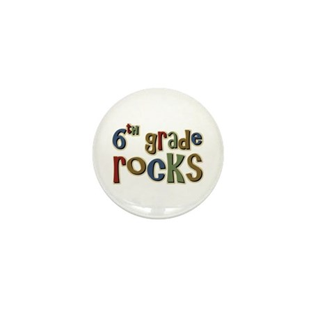 6th Grade Rocks Sixth School Mini Button