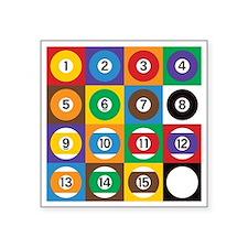 "Pop Art Pool Balls Square Sticker 3"" x 3"""