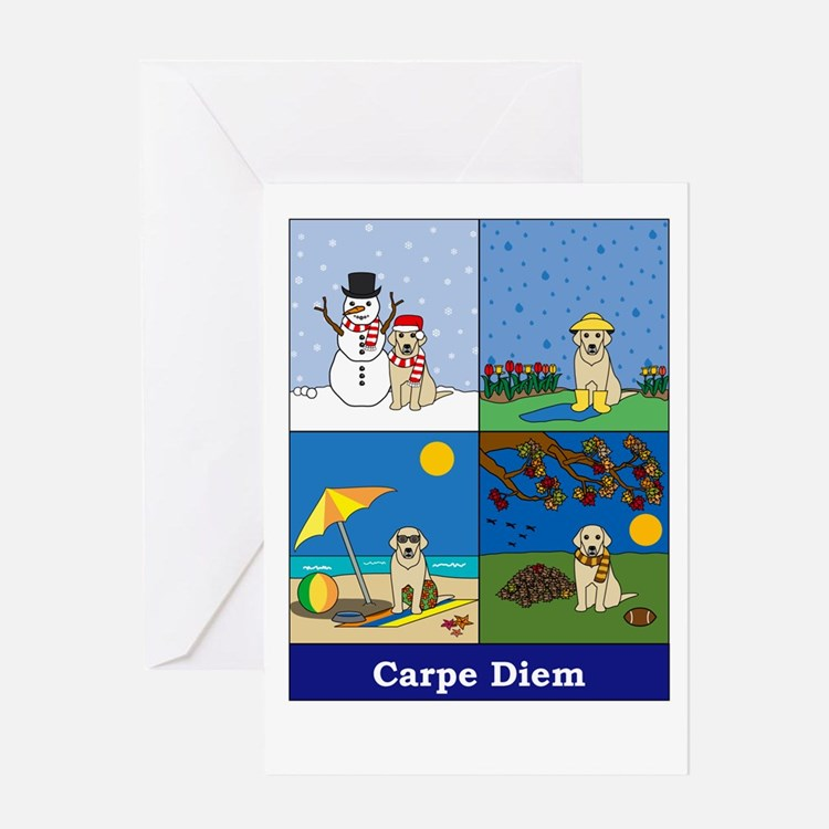 Yellow Lab Carpe Diem Greeting Card