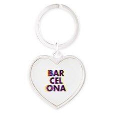Barcelona Glitch Psychedelic Cooles Heart Keychain