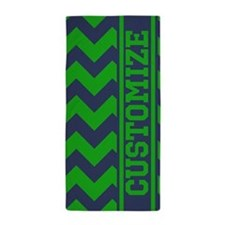 Personalized Green Blue Chevron Pattern Beach Towe