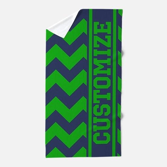 Personalized Green Blue Chevron Pattern Beach Towe