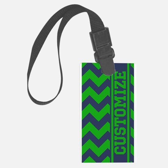 Personalized Green Blue Chevron Pattern Luggage Ta