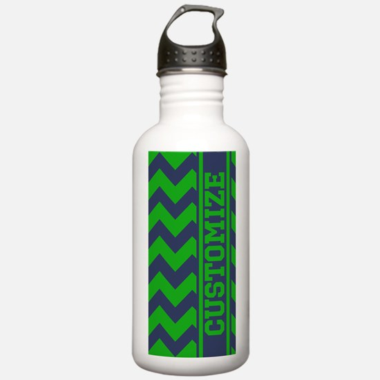 Personalized Green Blue Chevron Pattern Water Bott