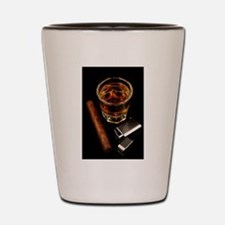 Whiskey And A Cigar On A Black Backgroo Shot Glass