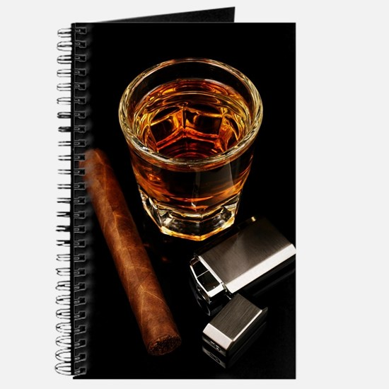 Whiskey And A Cigar On A Black Backgroound Journal