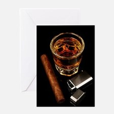 Whiskey And A Cigar On A Black Back Greeting Cards