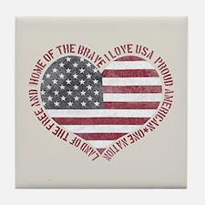 I Love USA Tile Coaster