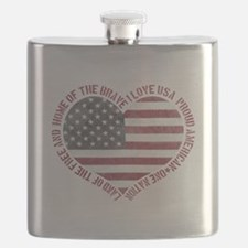 I Love USA Flask