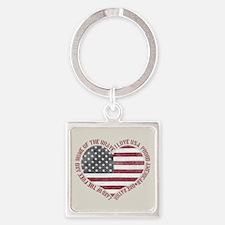I Love USA Square Keychain