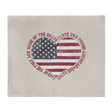 I Love USA Throw Blanket