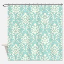 Aqua Damask Pattern Shower Curtains