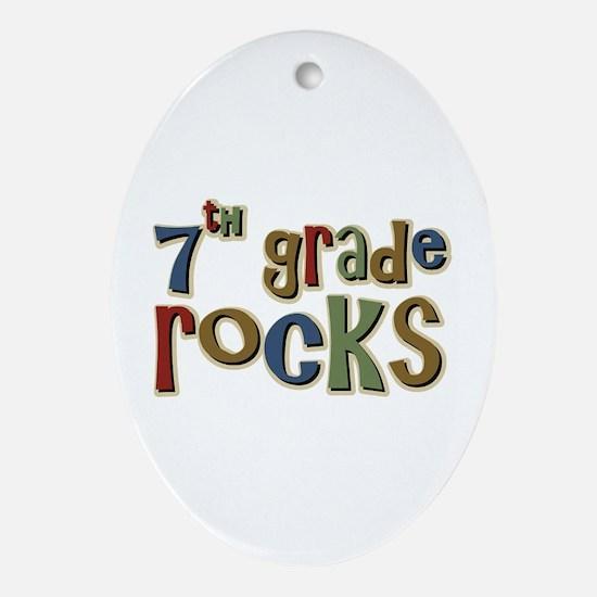 7th Grade Rocks Seventh School Oval Ornament