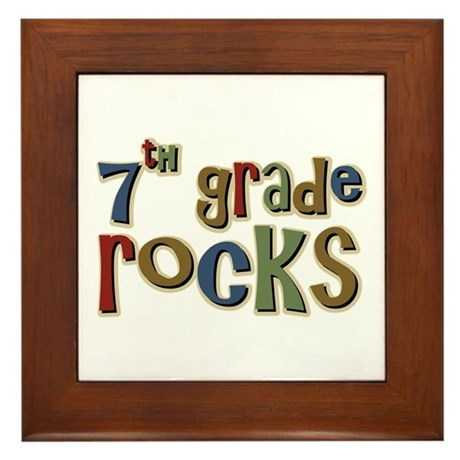 7th Grade Rocks Seventh School Framed Tile