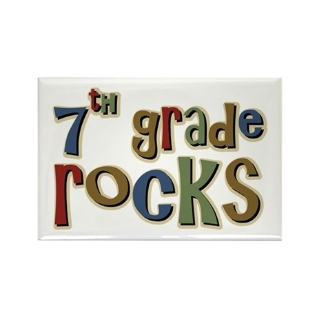 7th Grade Rocks Seventh School Rectangle Magnet (1