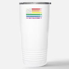 Rainbow American Flag Travel Mug