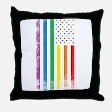 Rainbow American Flag Throw Pillow