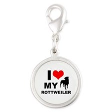 I Love My Rottweiler Silver Round Charm