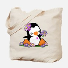 Flower Penguin Tote Bag