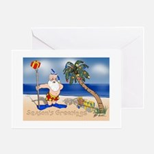 Tropical Santa Claus Greeting Cards