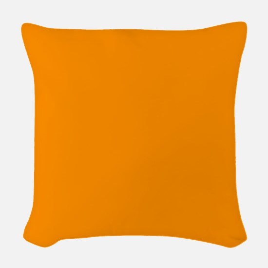 Solid Princeton Orange Woven Throw Pillow