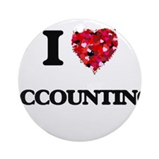 I Love Accounting Ornament (Round)
