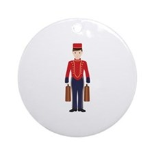 Bell Boy Hotel Luggage Bellhop Ornament (Round)