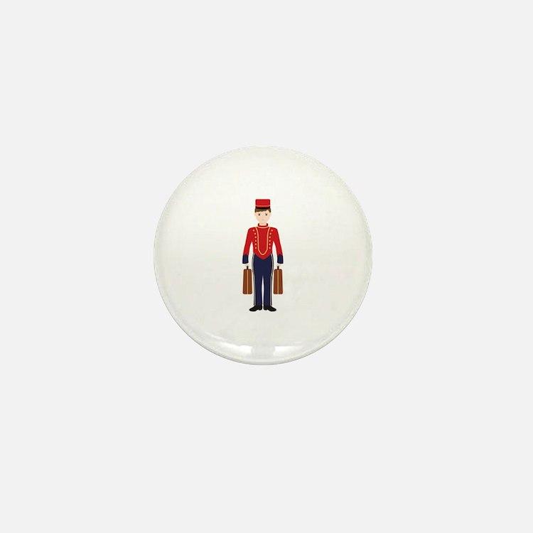 Bell Boy Hotel Luggage Bellhop Mini Button