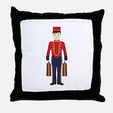 Bell Boy Hotel Luggage Bellhop Throw Pillow