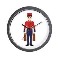 Bell Boy Hotel Luggage Bellhop Wall Clock