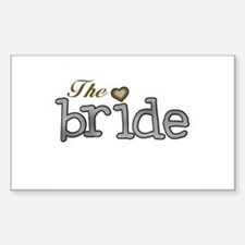 Silver and Gold Bride Rectangle Decal
