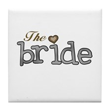Silver and Gold Bride Tile Coaster
