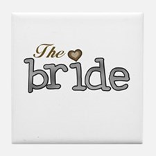 Silver and Gold Bride Tile Coaster