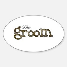 Silver and Gold Groom Oval Decal