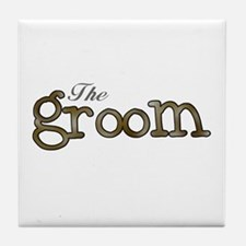 Silver and Gold Groom Tile Coaster