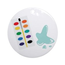 Watercolor Artist Paint Palette Ornament (Round)