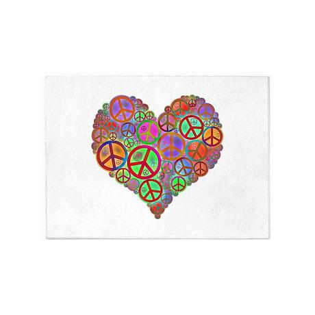 Peace Sign Heart 5u0027x7u0027Area Rug