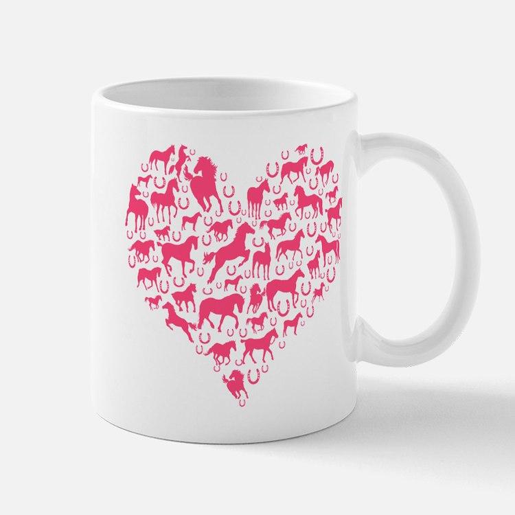 Horse Heart Pink Mugs
