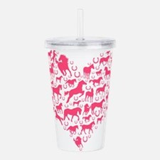 Horse Heart Pink Acrylic Double-wall Tumbler
