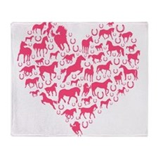 Horse Heart Pink Throw Blanket