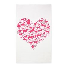 Horse Heart Pink Area Rug