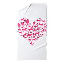 Horse Heart Pink Beach Towel