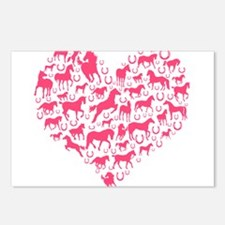 Horse Heart Pink Postcards (Package of 8)